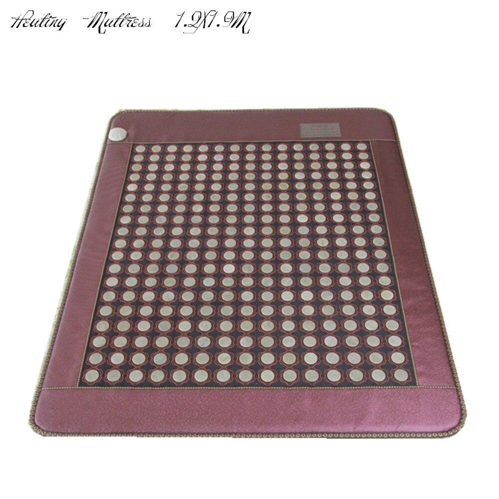 Far Infrared Thermal jade Stone Mattress, body health care mattress size Heating Mattress gift eye cover Free Shipping 1.2X1.9M