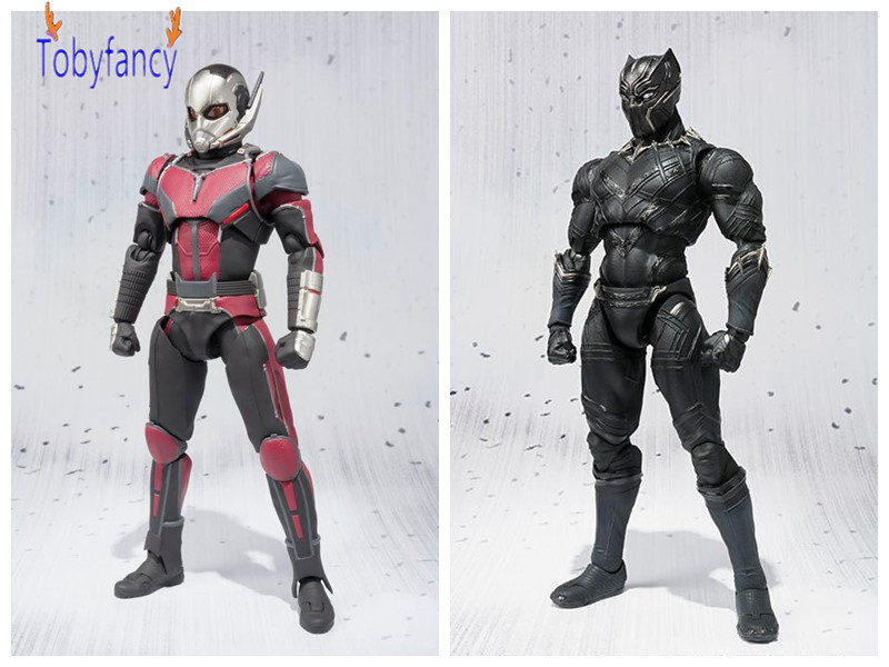 Captain America Action Figures Civil War Ant-Man Black Panther S.H.Figuarts Movable PVC 170mm Collectible Model Toy high quality captain america 3 civil war vison pvc action figures vision model toys children collection toys 7 18 cm
