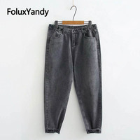 Loose Denim Harem Pants Casual Plus Size Ankle length Women Jeans Black Blue Gray KKFY2884
