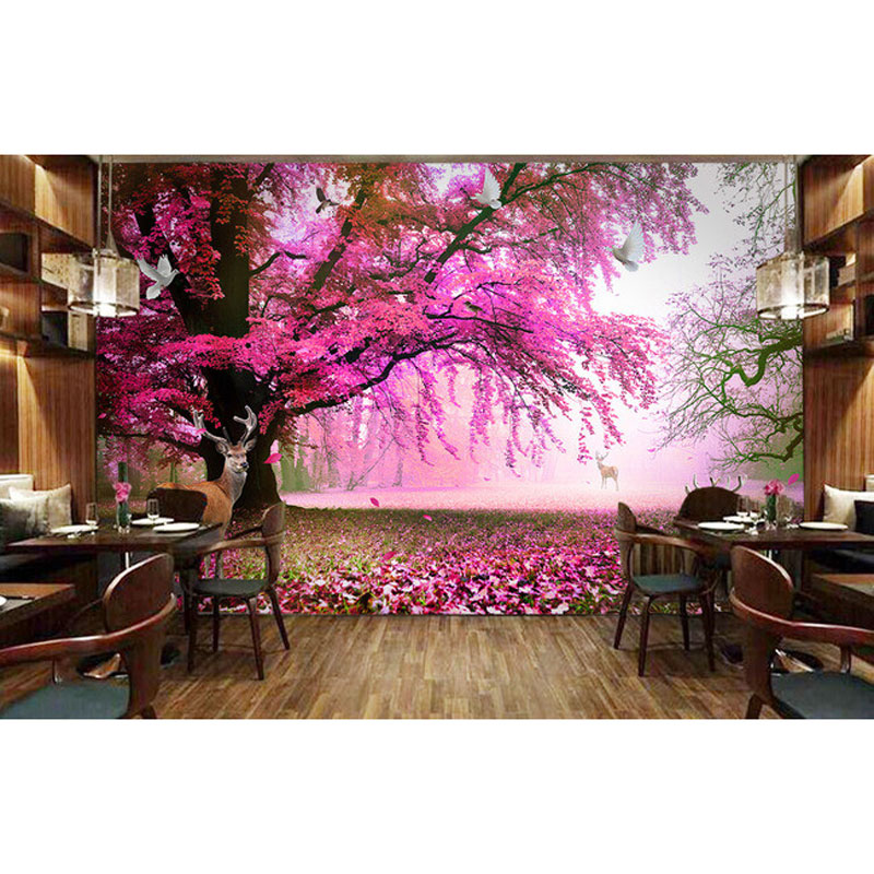 Home Decor Wall Papers 3d Nature Sakura Tree Deer Photo Mural Wall ...