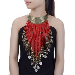 Vintage Women Jewelry Pendant Resin Tassels Statement Choker Bib Necklace