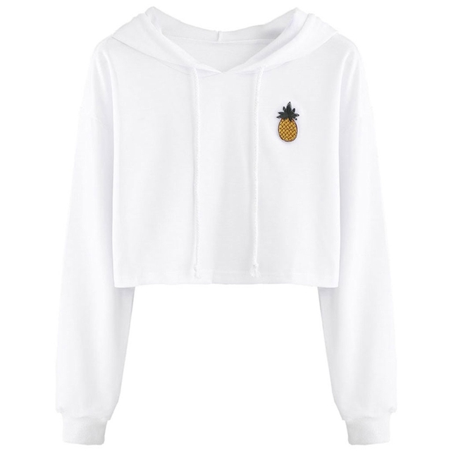 83e07c3e52 Women Teen Girls Cotton Cute Crop Top Printed Hoodie Pullover Top Sweatshirt