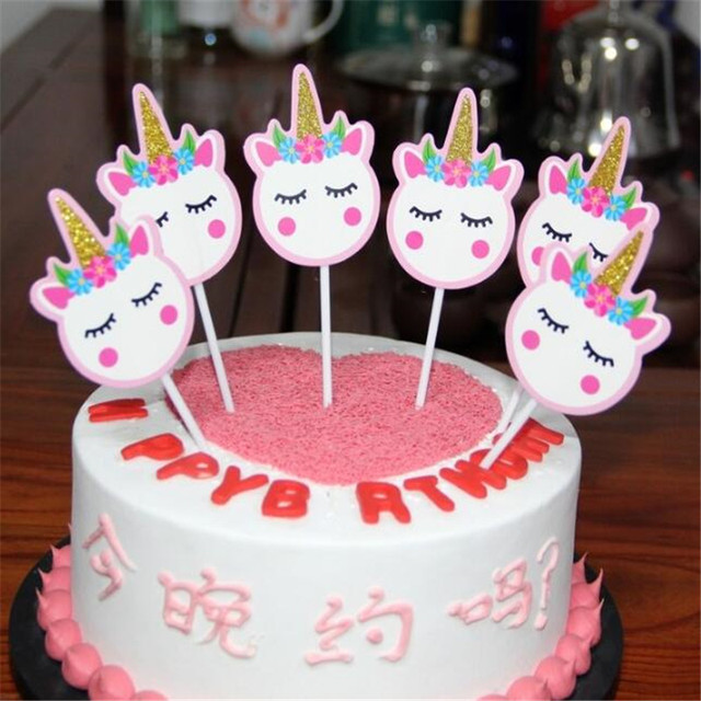 12PCS Cute Unicorn Birthday Cake Decoration Card DIY Baking Tools Childrens Party Hat