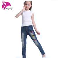 2017 Nueva Denim Jeans Para Niños Niñas Impresión de La Mariposa Diseñador Pantalones Niños Denim Pantalones Casuales Para 4 ~ 14 Años de Alta calidad