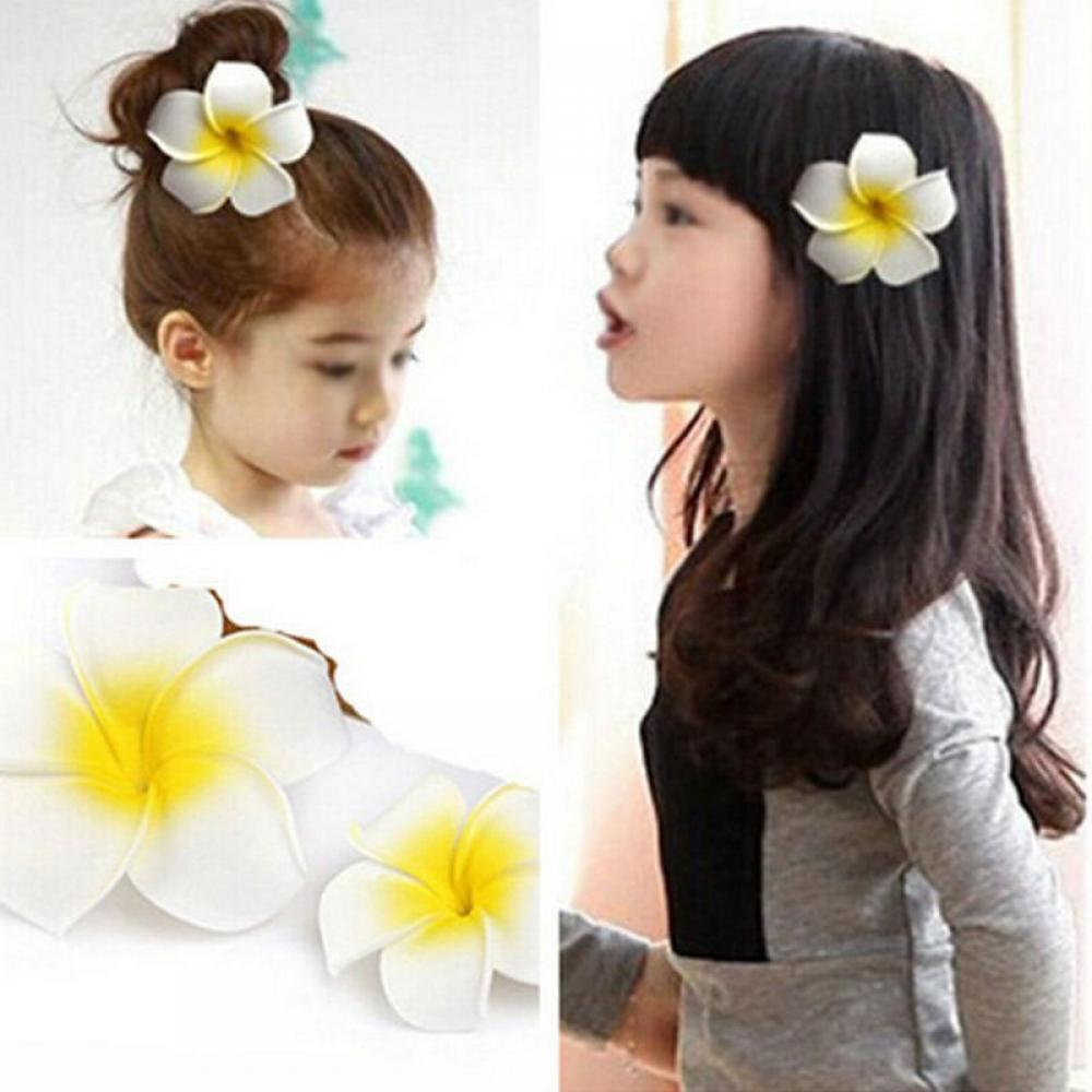 Summer Style Sunny Bright Plumeria Flower Foam Hair Clips 2 Sizes Barrettes Headwear Hair Accessories Kids Women