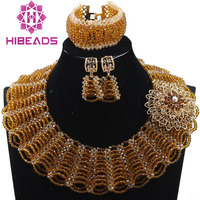 2017 Indian Bridal Costume Jewellery Sets Coffee Brown New Gold Chunky Bib Crystal Beads Women Jewelry Sets Free Shipping ABH388