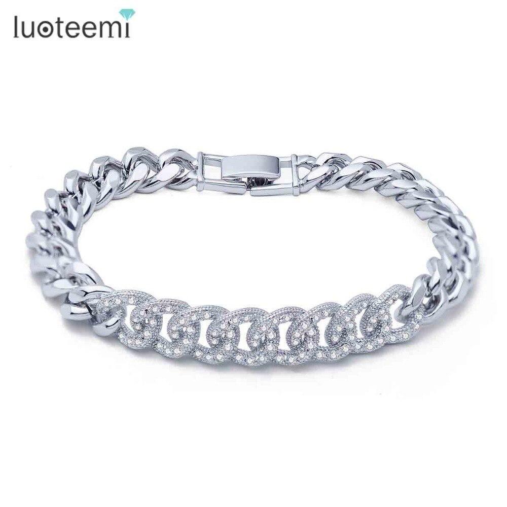 Prix pour LUOTEEMI New Charme Bracelet Micro Pavée Brillant Minuscule Zircon Boucles Connecter Bracelet De Cuivre Rhodium Plaqué Bijoux Cadeau De Noël