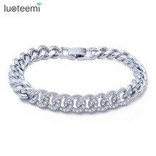 LUOTEEMI New Charme Bracelet Micro Pavée Brillant Minuscule Zircon Boucles Connecter Bracelet De Cuivre pour les Femmes Bijoux Cadeau De Noël