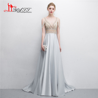 2018 Collection Heavy Beading Amazing Sexy V neck Satin Long A line Formal Evening Dresses Women Party Prom Gown Custom Made