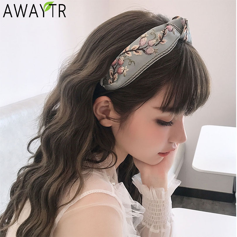 AWAYTR Flowers Hand Made Embroidery Boho Headbnad Hair Band Hair Hoop Bows Flower Crown Headbands Women For Hair Accessories