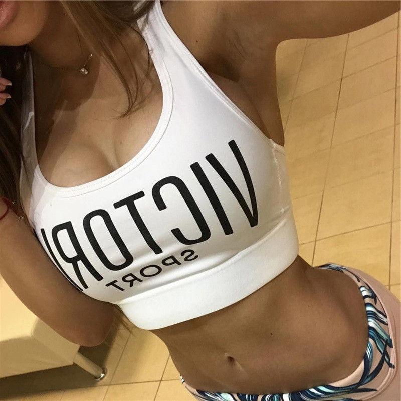 Sexy Letter Print   Tank     Tops   Women Workout Sport Bra Stretch Causal Running Padded Fitness Crop   Tops   Regular Size Pullover