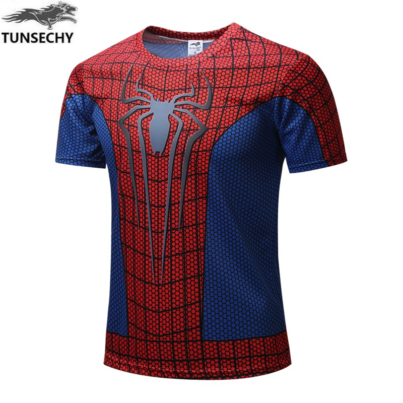 2017 TUNSECHY Brand fashion super hero The hulk batman iron man The T-shirt male fitness  Short sleeve Digital printing T-shirt