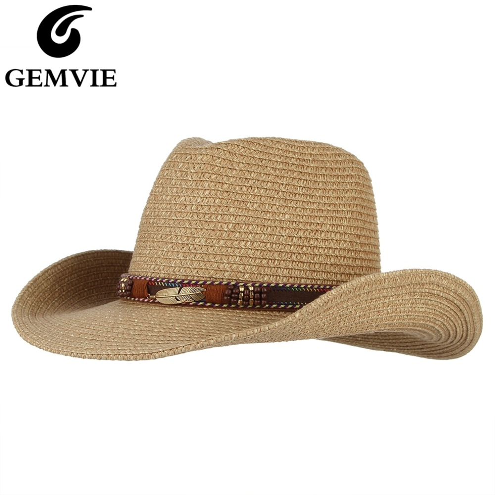 GEMVIE Western Cowboy Hat Sun Hat For Men Cowgirl Summer Hats For Women Lady Straw Hat With Alloy Feather Beads Beach Cap Panama