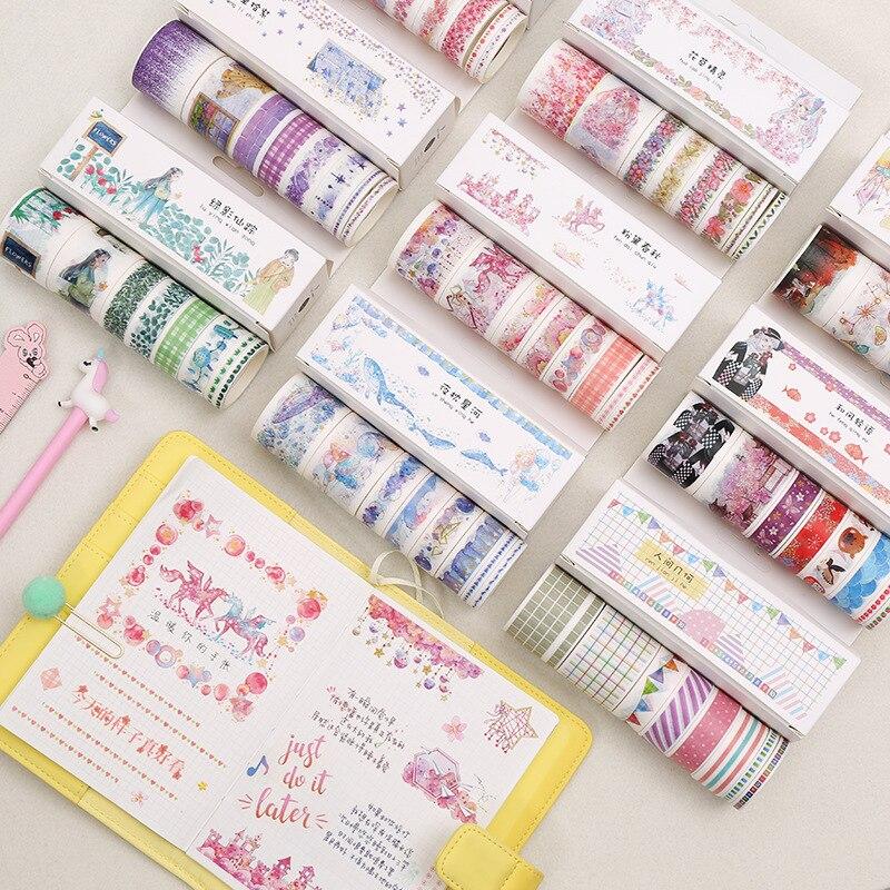 8pcs/Set 5/15/30mm Ins Kawaii Girl Series Masking Washi Tape Scrapbooking Creative Diy Decorative Adhesive Tape Cute Stationery
