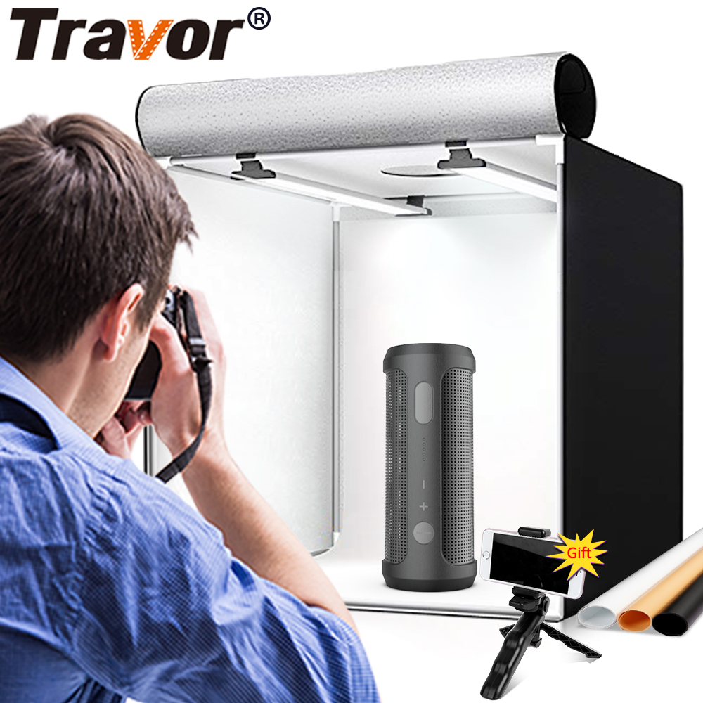 TRAVOR M40II Light Box Photo Studio Folding Photo Box Softbox With 3 Color Background For Photography Tent LED Ligthbox