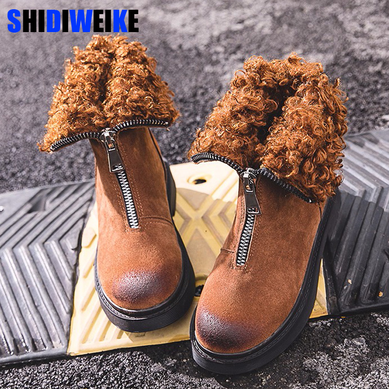 Shoes Boots Woman Faux Lamb Fur Warm Winter Snow boots 2018 Front Zipper Cool Female Snow Boots Plus Fur Winter Shoes Flat n484 faux fur knitted bowknot snow boots