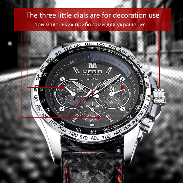 Megir fashion luminous quartz watch man casual leather brand watches men analog waterproof wristwatch for male hot hour 1010 Accessories Jewellery & Watches