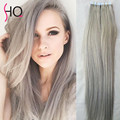 "20"" Gray Color Tape In Weft 20 pieces/set Blue Strong Adhesive Tape In Hair Real Brazilian Virgin Extension Pu Hair Weft SA83"