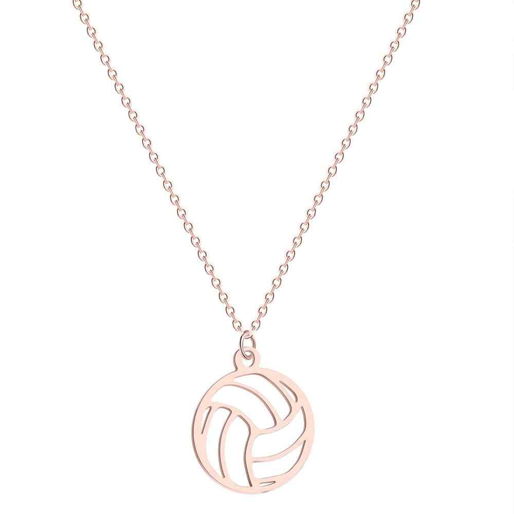 QIAMNI redondo voleibol colgante collar gargantilla bola Volley deportes ventilador joyería cumpleaños regalo para Mujeres Hombres accesorios de moda