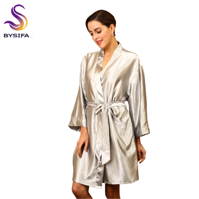 9ac33de37963 Ladies Silver Robes New Home Apparel Candy Colors Summer Robe Silky Loose  Large Size Silk Robe