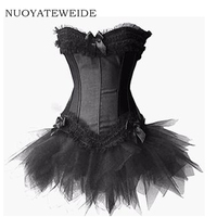 2017 Burlesque Red and Black Corset Dress Costume Bustier para mujer Victorian Brocade Corset &Tutu Skirt Outfit Part Halloween