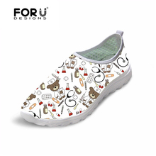 FORUDESIGNS White Cute Cartoon Nurse Bear Pattern Female Causal Flats Shoes Light Weight Women Summer Sneakers Breathable Mesh
