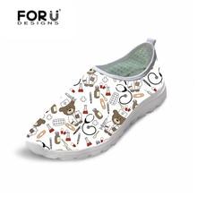купить FORUDESIGNS White Cute Cartoon Nurse Bear Pattern Female Causal Flats Shoes Light Weight Women Summer Sneakers Breathable Mesh дешево