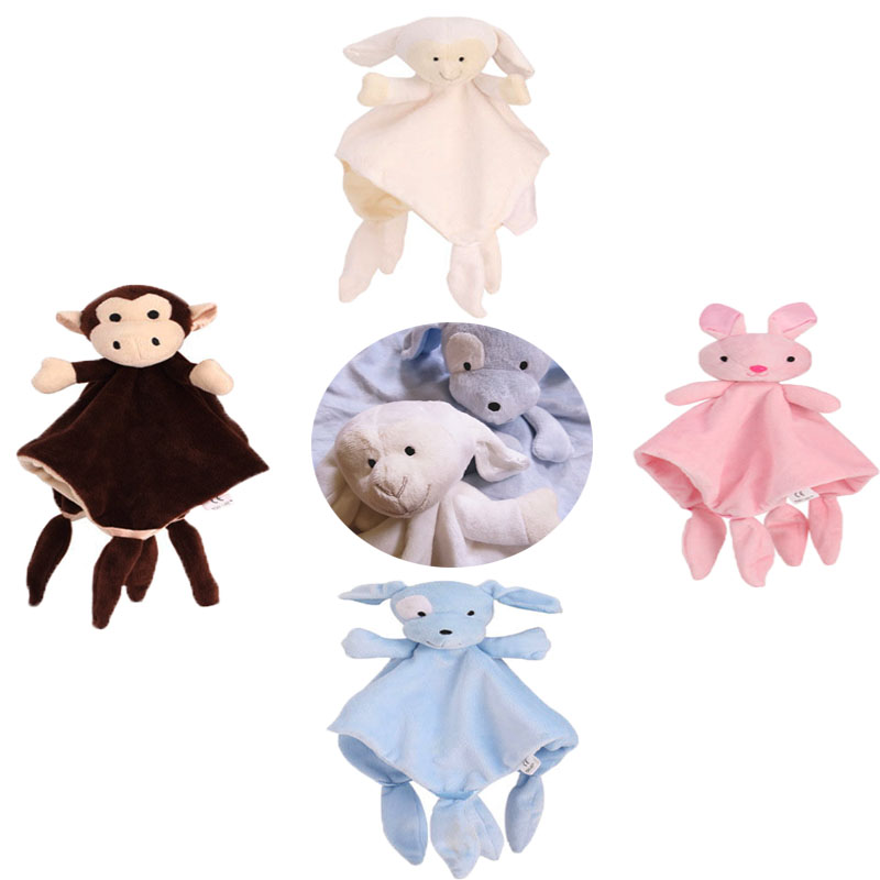 Baby Plush Toys Soft Appease Towel Soothe Sleeping Animal Blanket Towel Educational Rattles Clam Plush For Newborn Toys Doll