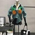 Mulheres Lantejoulas Abacaxi Padrão de Bordado Listra Camisas 2017 Primavera do Sexo Feminino Verão Vintage Casual Manga Comprida Blusa Camisas Tops