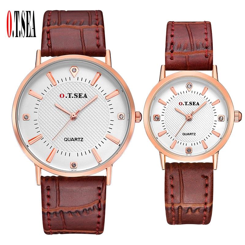 Popular O.T.SEA Brand Pair Leather Watches Men Women Lovers Watch Fashion Crystal Dress Quartz Wristwatches Clock Hour 6688-6