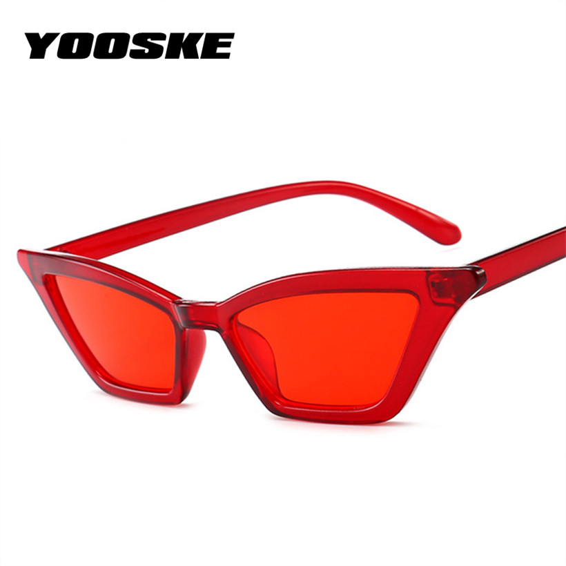 YOOSKE Vintage Sunglasses Women Cat Eye Luxury Brand Designer Sun Glasses Ladies Cateye Sunglass Retro Red Black UV400 Eyewear фасад мдф со стеклом сантук 716х446мм шампань светлый техно