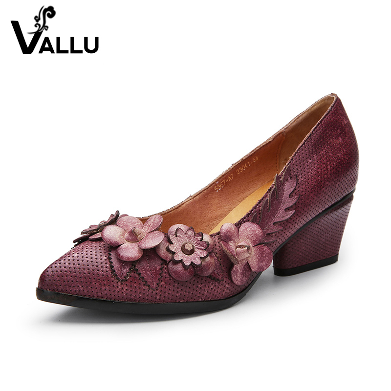 Cool High Heel Shoes Woman Summer Cow Leather Women Pumps Pointed Toe Chunky Heel Elegant Flowers Zapatos Mujer creativesugar elegant pointed toe woman