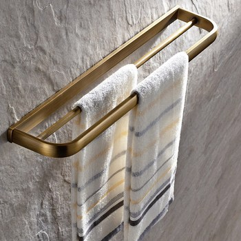 Chrome Antique Brass Square Double Towel Bar Wall Mounted Bathroom Towel Rail Rack Holder Bathroom Accessories KD901 buckingham palace antique british full copper double bar brass towel rack hanging bathroom accessories towel rails free shipping