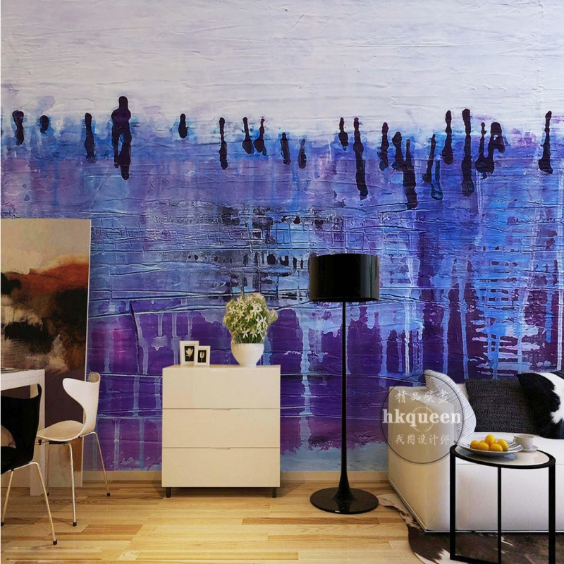 Us 12 58 35 Off Photo Wallpaper 3d Purple Fantasy Hand Painted Abstract Tv Backdrop Living Room Wallpaper High Quality Hotel Lobby Custom Mural In