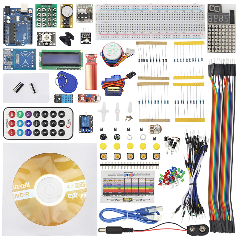 Upgraded Advanced Version Starter Kit the RFID Learn Suite Kit Lcd 1602 + Flame Sensor with Retail Box for Arduino UNO R3 favourite 1602 1f