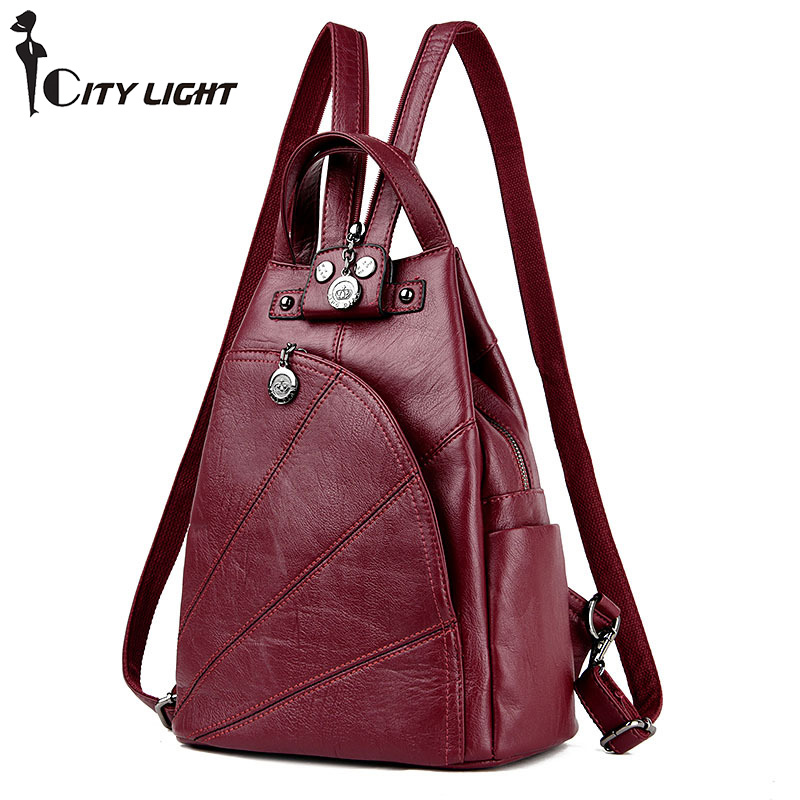 Fashion Leisure Women Backpacks Women's PU Leather Backpacks Female School Shoulder Bags For Teenage Girls Travel Back Pack