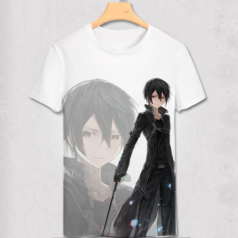 Sword Art Online T-shirt Asuna Kirito Kirigaya Kazuto SAO Cosplay Costume Anime Fashion Men Women T Shirt Tees New Cool Design