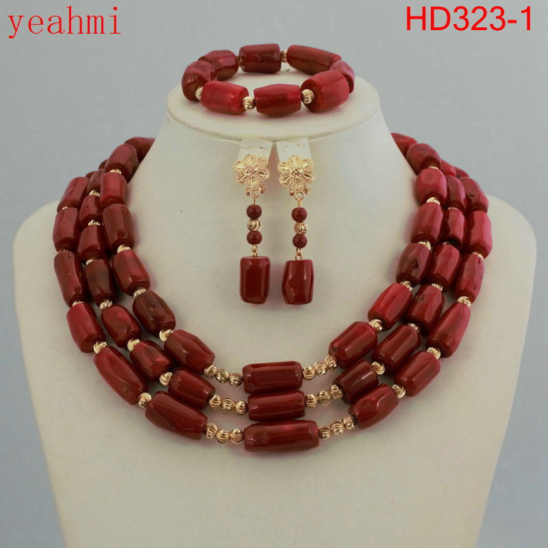 Nigerian Wedding African Beads Jewelry Set Blue African Costume Jewelry Sets Coral Beads Necklace Sets Free Shipping HD323-1 costume african red coral beads necklace bracelet earrings jewelry set nigerian wedding jewelry sets free shipping cj240