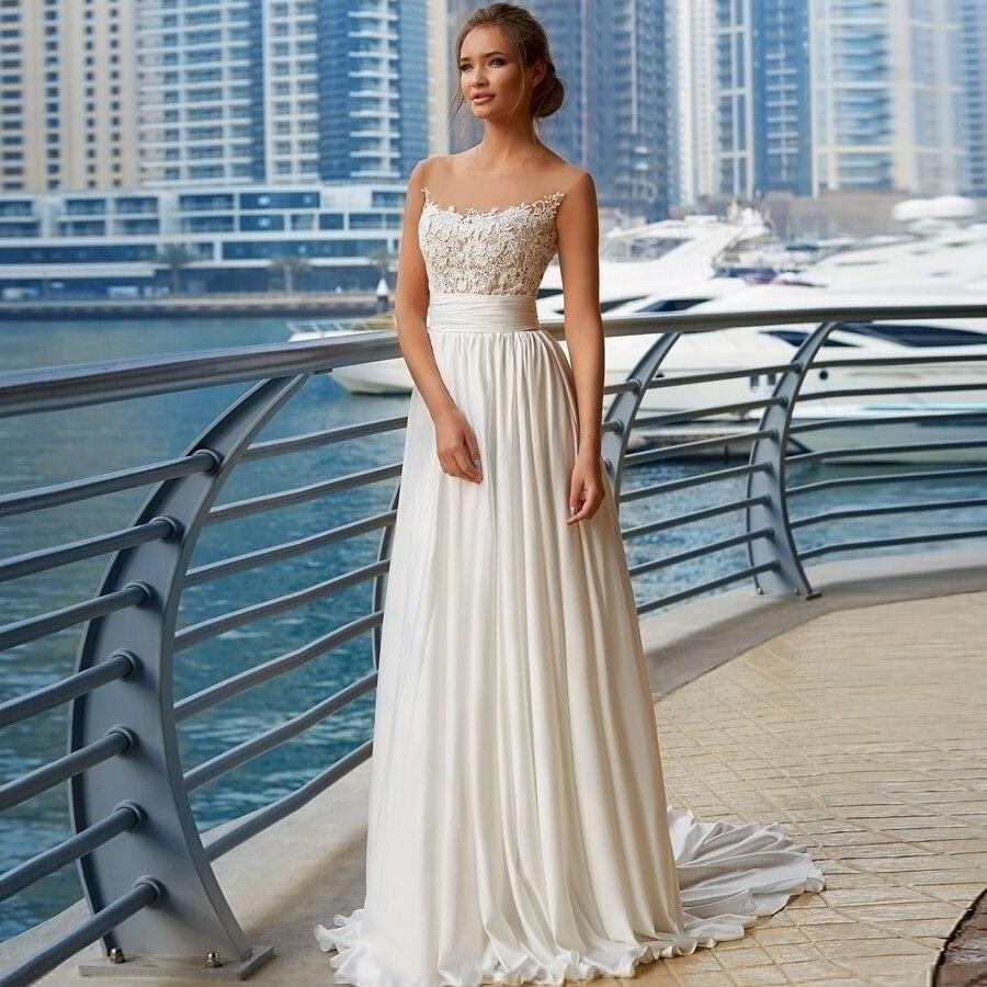 Eightale Beach Wedding Dresses Boho Scoop Wedding Gowns Appliques Chiffon A Line Cheap Bride Dresses Pleats