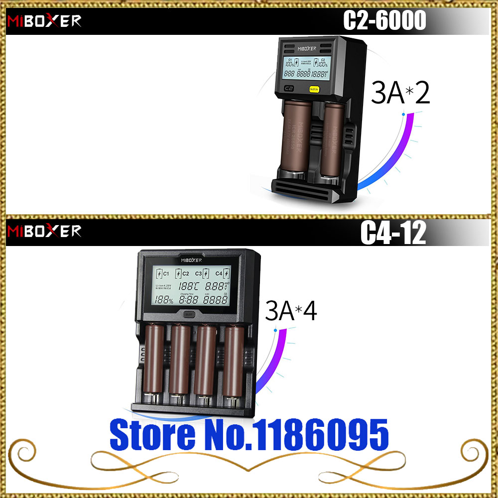 Miboxer C2-6000/ C4-12 Battery Charger LCD Screen 3.0A for Li-ion/IMR/INR/ICR/Ni-MH/Ni-Cd rechargeable battery PK(VC4 I4 D4 ) original miboxer c4 lcd battery charger for li ion imr inr icr lifepo4 18650 14500 26650 aaa 3 7 1 2v 1 5v batteries pk vc4