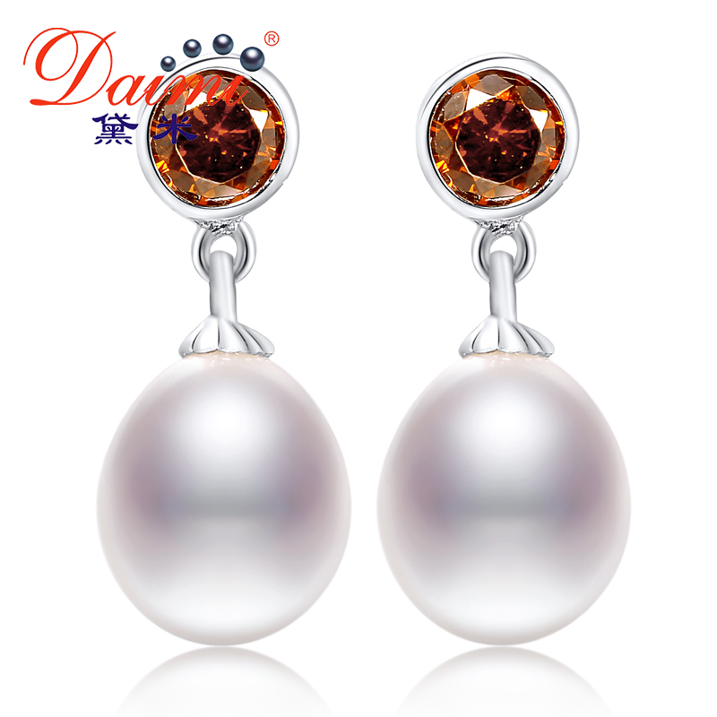Daimi 8 9mm Natural White Freshwater Pearl Red Shinny Crystal Studs font b Earrings b font