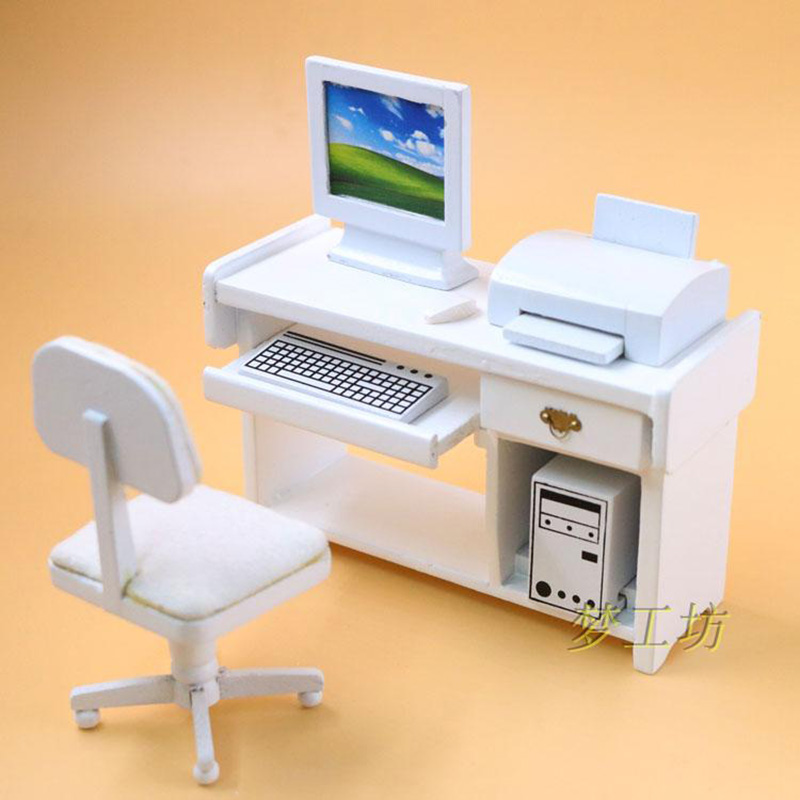 1:12 Dollhouse Furniture toy Miniature Wooden mini computer desk set simulation furnitur ...