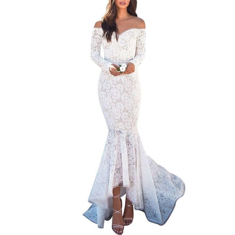 Lace Patchwork Maxi Dress Women Elegant Off Shoulder Slash Neck Long Sleeve Bodycon Women Dress Vintage Mermaid Dress Vestidos