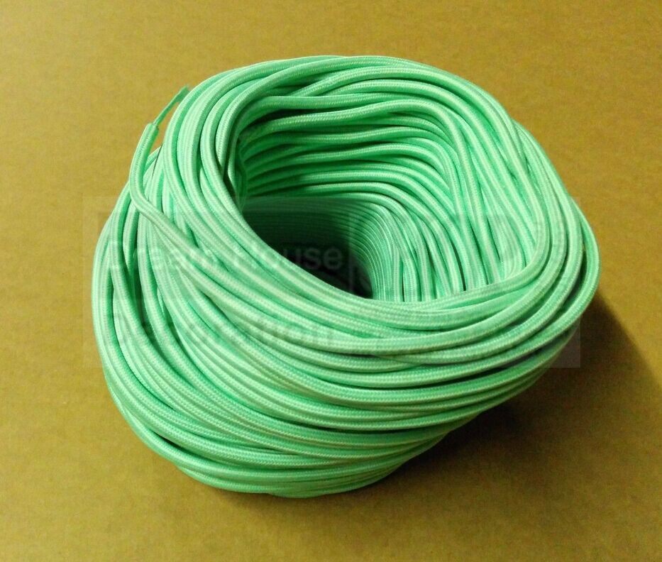Free shipping green Vintage style Twisted Braided Fabric Electrical Lighting Cable * 3 core 0.75mm