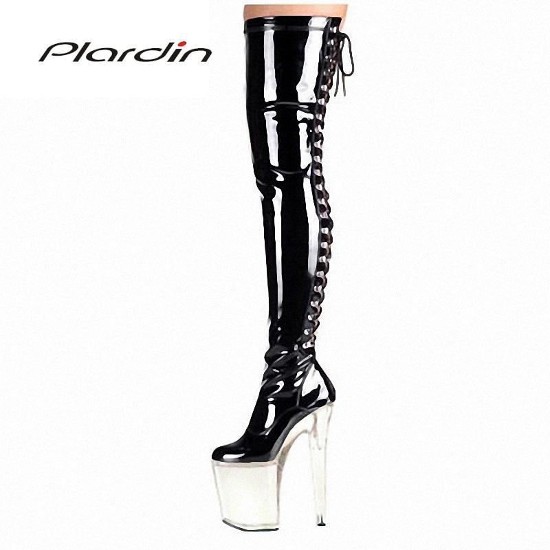 Plardin Plus Size 35-46 Sexy Transparent 20CM High Heels 10CM Platform Cross-tied Zipper knee-high Nightclub Dance Party Boots plus size criss cross high low tee
