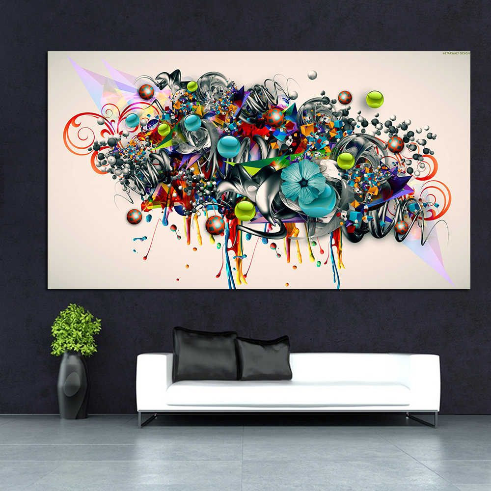 Wangart Abstract Graffiti Canvas Art Blossomed Flowers Painting Modern Wall Pictures For Living Room Home Decor Poster Printed