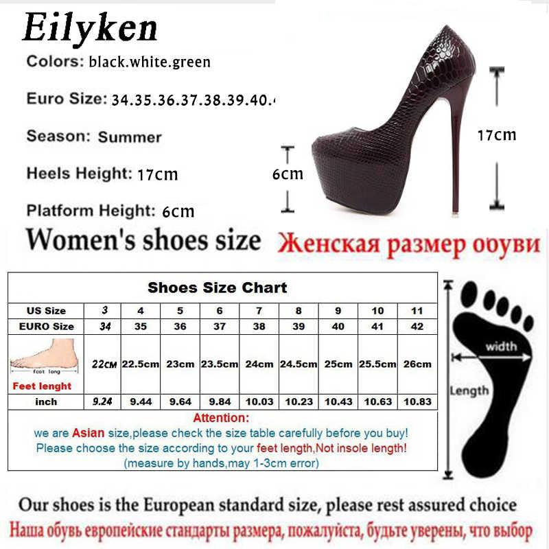 Eilyken Yeni Yılan Derisi Pompaları 16 CM yüksek Kulübü yüksek topuklu Seksi yüksek topuklu ayakkabılar Yuvarlak Ayak Kadın Pompaları Büyük boyutu 40