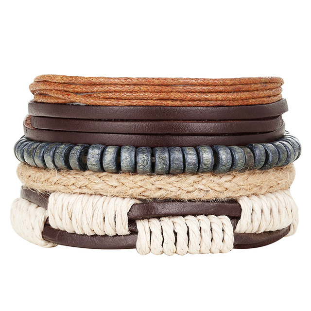New Fashion Bead Leather Bracelets & bangles for Woven 3/4 pcs 1 Set Multilayer Wristband Vintage Handmade Bracelet Men Pulseira 4