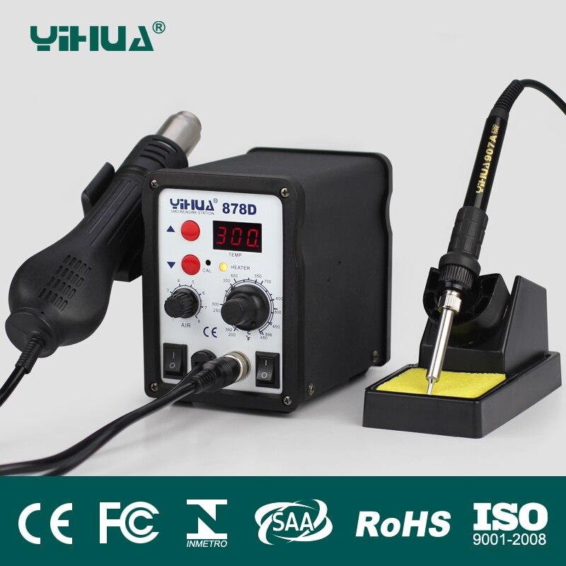 цена на 110V/220V EU/US PLUG YIHUA 878d Digital Display 2in1 hot air gun soldering station+solder Iron