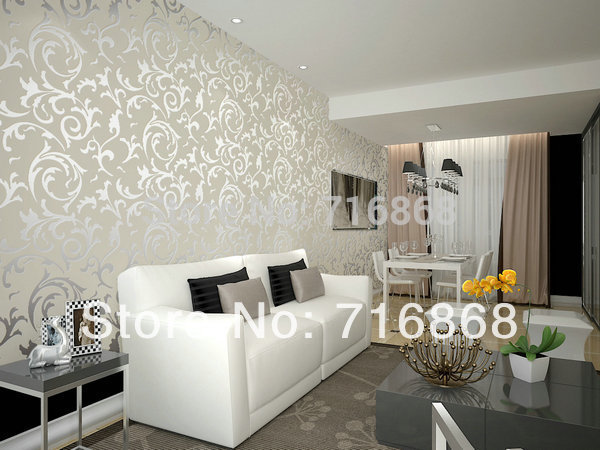 Photo collection damask feature wallpaper for Bedroom wallpaper feature wall